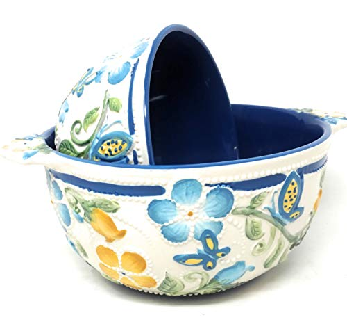 Temp-tations Butterfly Garden Set of 2 Bowls, Mixing or Serving, Nestable 2.5 Quart & 1.5 Quart (Butterfly Garden Blue)