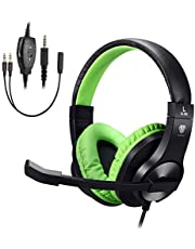 ShinePick 3.5mm Bass Stereo Over-ear Gaming Headphone PS4 Gaming Headset with Microphone and Volume Control Compatible with PS4, New Xbox One, Xbox One S, Xbox One X, PC(Green)