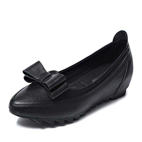 Mujer Zapatos de Aumentar Primavera Zapatos Planos Black Individuales de Cómodos Frijoles Pequeños de con Zapatos de Arco MYI Zapatos Pendiente Zapatos F4pAq