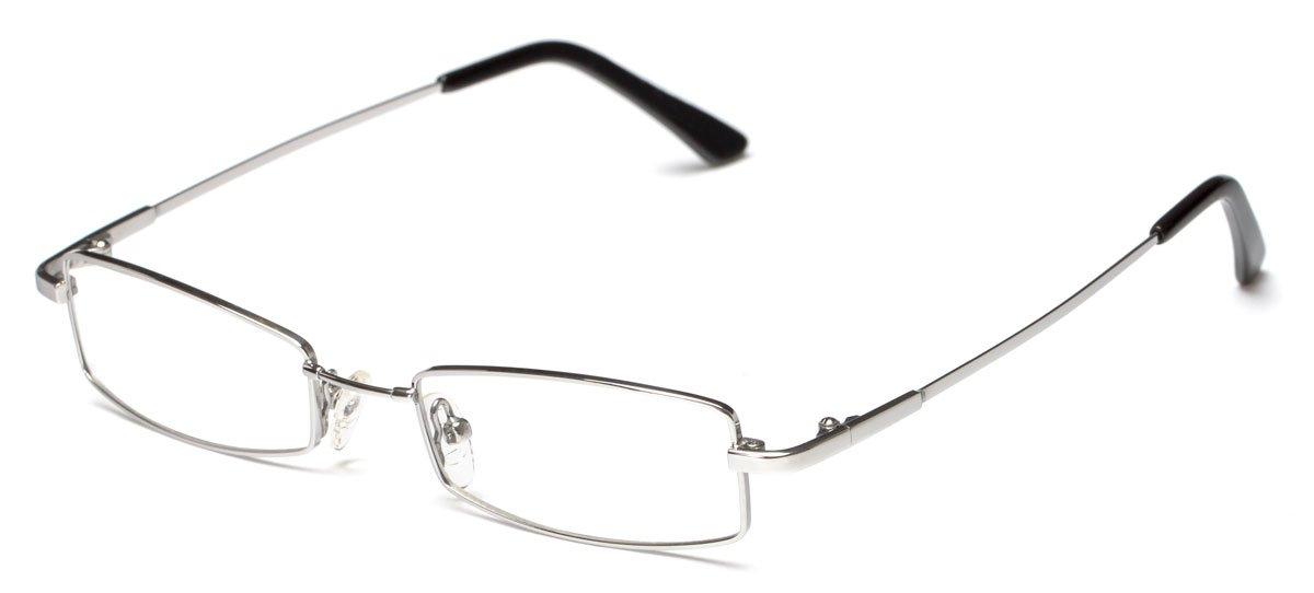 Readers.com Fox Hill by felix + iris Matte Silver Extra Thin Optical Quality Titanium Rectangle Reading Glasses