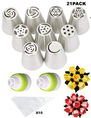 Cofe-BY Russian Piping Tips Cake Decorating Kits 21-Pcs Set for Home Baking DIY Tool Rose Tulip Icing Piping Nozzles Tip (9 Russian Tips 10 Disposable Pastry Bags 2 Tri-Color Coupler) Christmas Gifts