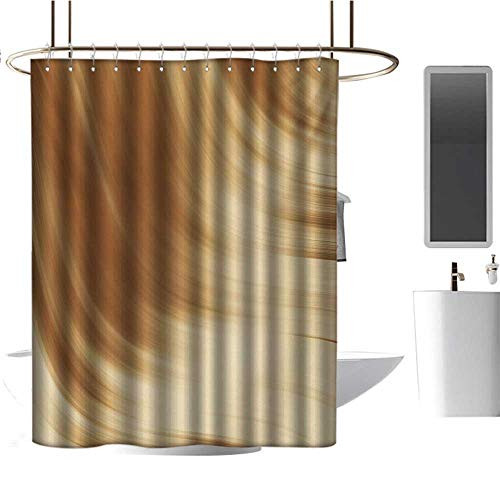- Fabric Shower Curtain for Bathroom Tan,Curved Wave Like Conceptual Artistic Display Creamy Effect Soft Colored Subtle Image,Cream Tan,Metal Rust Proof Grommets Bathroom Decoration 54