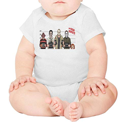 voslin The Usual Horror Suspects Halloween Baby Unisex White Short Sleeve Cotton Cute Clothes -