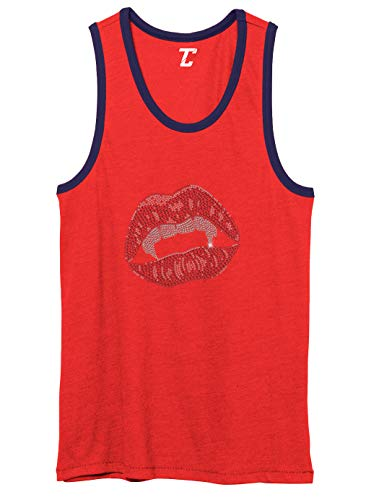 Vampire Lips - Rhinestone Halloween Unisex 2-Tone Tank Top (Red/Navy, Large)