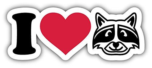 novland I Love Raccoons Animal Car Bumper Sticker Decal 6'' x 3''