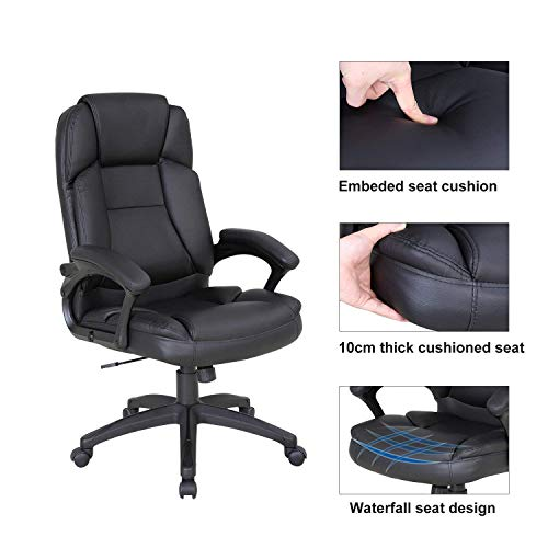 LCH High Back Executive Office Chair with Adjustable Tilt Angle - PU Leather Computer Desk Chair with Thick Padding for Comfort and Ergonomic Design for Lumbar Support by LCH (Image #6)