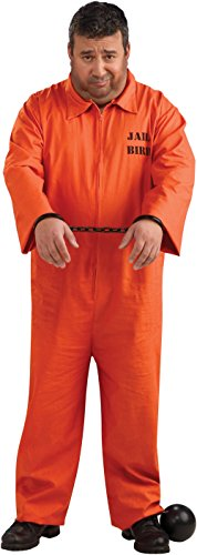 Plus Size Orange Prisoner Jumpsuit Costume, 46 to 52
