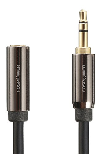 FosPower (15 Feet) 3.5mm Male to 3.5mm Female Stereo Audio Extension Cable Adapter [24K Gold Plated Connectors] for Apple, Samsung, Motorola, HTC, Nokia, LG, Sony & More