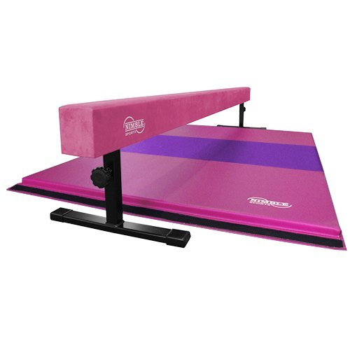 "Pink 8ft 12 18"" Adjustable Suede Balance Beam 6ft Pink/Purple Gymnastics Mat"