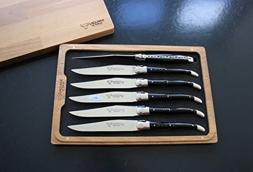Laguiole En Aubrac Steak Knives, Buffalo Horn Handles, Set of 6