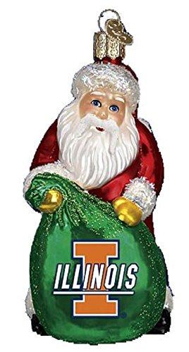 Glass Fighting Illinois Illini (Old World Christmas Illinois Fighting Illini Santa Glass Ornament 62811 NCAA)