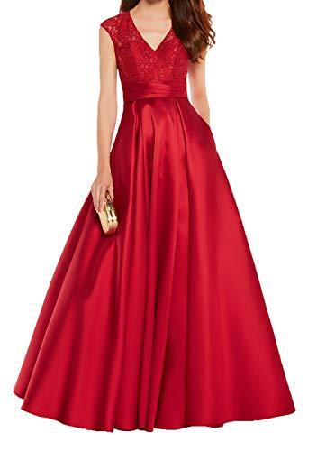Ausschnitt Festlichkleider Abendkleider Mit Damen Spitze Linie Satin V Ballkleider Rot Lang Brautmutterkleider Charmant A Fqt1vf