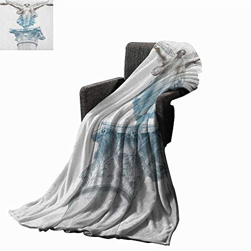 """WilliamsDecor Bed or Couch 60"""" x 50""""Toga Party Lightweight Blanket Antique Muse Statue Athens Hellenistic Period Mythological Monument Art Print Summer Quilt Comforter Pale Blue Umber"""