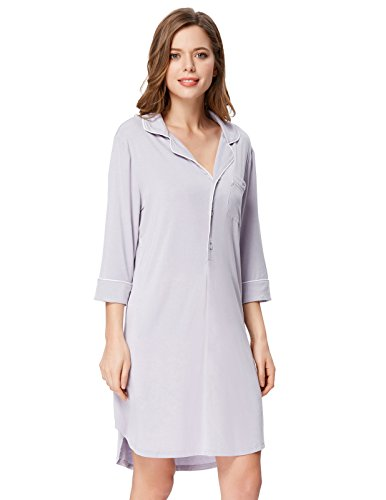 Zexxxy Women Lightweight Nightgown Top Knee Length Boyfirend Style Navy Blue 2XL (Nightgown Top)