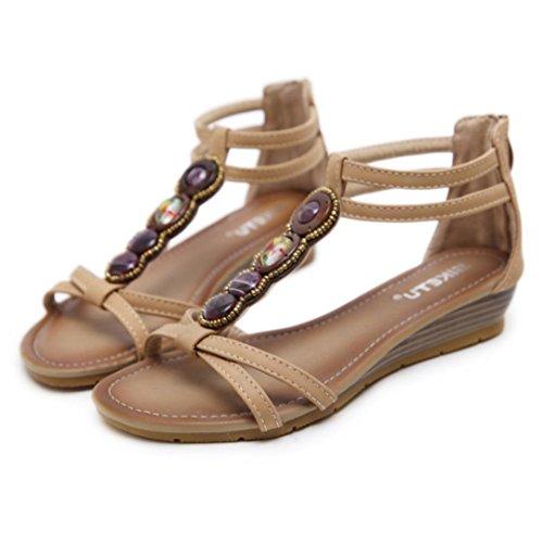 Beige Pour Femmes La D'été Bohème Toe À Femme Talons Printemps By Pantoufles Lhwy Mode De Confortables Sandales Les Strass femmes Chaussures Open w1xzqC8p