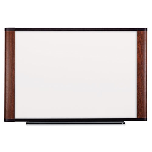 3M Dry Erase Board, 72 x 48-Inches, Widescreen Mahogany-Finish Frame by 3M
