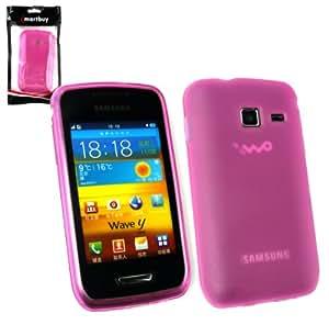 Emartbuy® Samsung S5380 Wave Y Frosted Pattern Gel Skin Cover Hot Pink