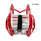 Portable Fire Ladder Two-Story Emergency Escape Ladder 15 Foot with Wide Steps V Center Support