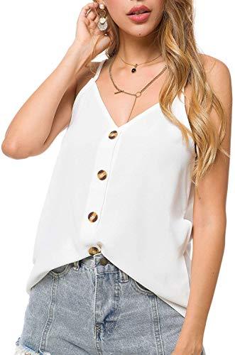 Fancyskin Womens Ladies Sexy V Neck Tank Tops Flowy Sleeveless White Blouses Shirts,Medium ()