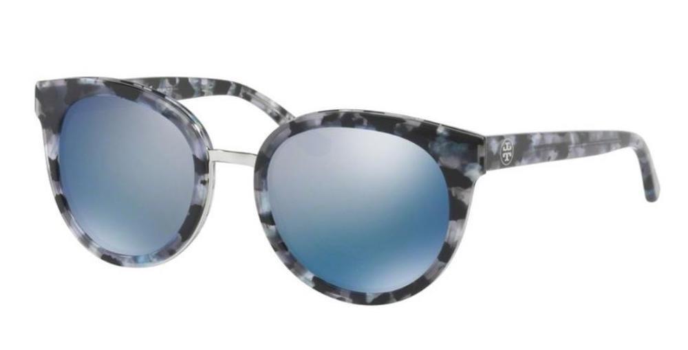 Tory Burch Women's 0TY7062 Black Pearl Tort/Blue Flash Polarized Mirror Sunglasses