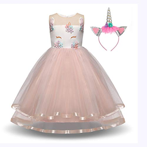 Girls Unicorn Dress with Headband Princess Dressing Up Costume Outfit Pink Age 2-8 Years (3-4 Years)