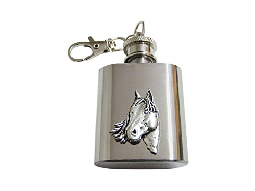 Textured Horse Head 1 Oz. Stainless Steel Key Chain Flask ()