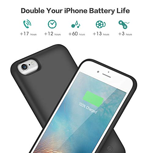 Battery Case for iPhone 6S / 6, Gixvdcu 6000mAh Rechargeable Protective Portable Charging Case for Apple iPhone 6 & 6S (4.7 Inch) Extended Charger Pack Power Bank - Black by Gixvdcu (Image #5)