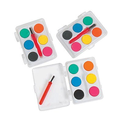 Mini Kids Watercolor Paint Sets with Brush - 12 sets -