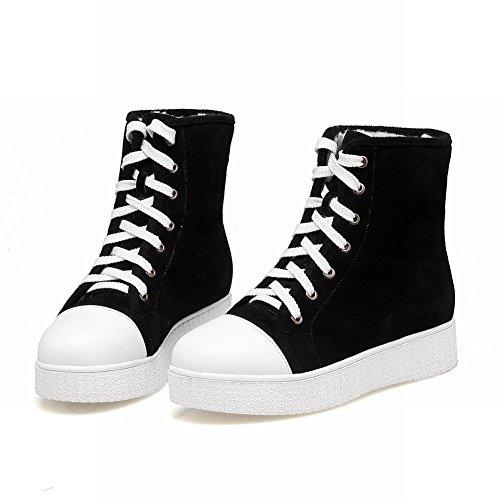 Mee Shoes Damen mit Schnürsenkel runde Nubukleder Stiefel (36, Schwarz)