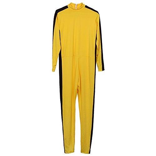 [Aircee Yellow Jumpsuit Clothes Martial Arts Kung Fu Costumes Uniform 5'11''] (Black Martial Arts Costume)