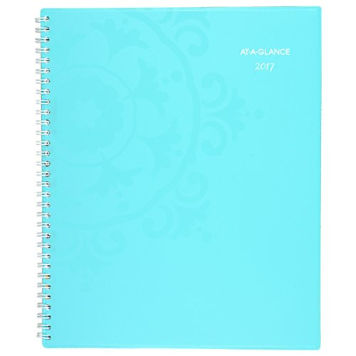 "AT-A-GLANCE Weekly / Monthly Planner / Appointment Book 2017, 8-1/2 x 11"", Professional, Suzani,Turquoise (917-905)"