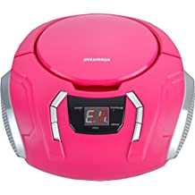 Sylvania SRCD261-B-Pink Portable CD Boombox with AM/FM Radio, Pink