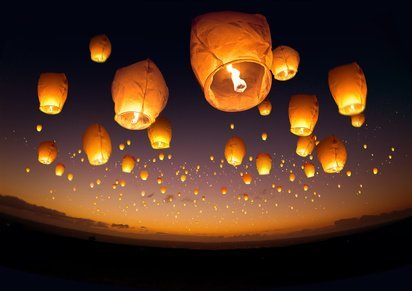 Farolillos con velas de deseos