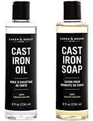 Caron & Doucet - Cast Iron Cleaning & Conditioning Set: Seasoning Oil & Cleaning Soap | 100% Plant-Based & Best for Cleaning Care, Washing, Restoring & Seasoning Cast Iron Skillets, Pans & Grills!
