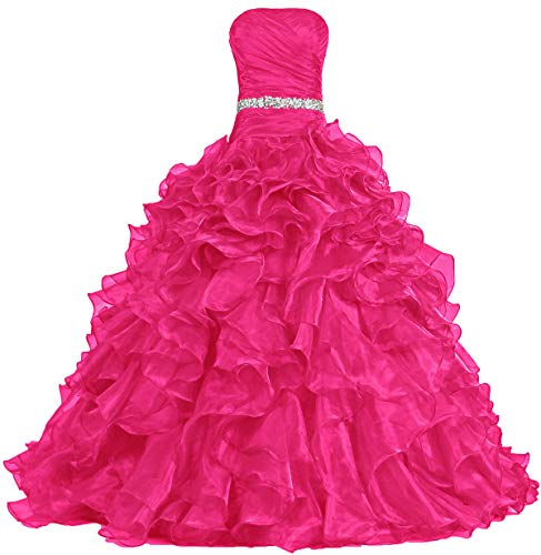 ANTS Women's Pretty Ball Gown Quinceanera Dress Ruffle Prom Dresses Size 8 US Hot Pink