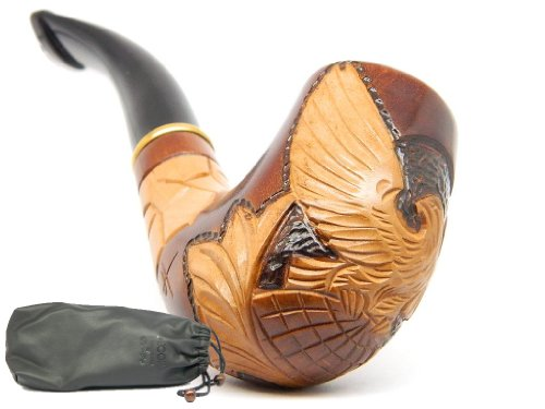 DrWatson-Tobacco-Smoking-Pipe-Eagle-on-Globe-Pear-wood-Hand-Carved-Pouch