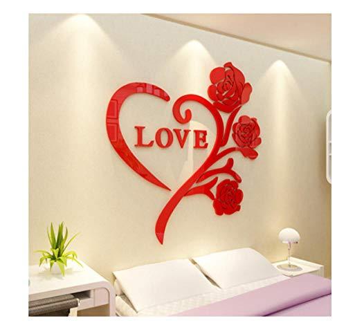 Ziruixiong Love Rose 3D Pegatina De Espejo De Cristal Acrilico Decoracion De La Habitacion Pegatina De Pared Dormitorio Calido Y Romantico Idea De Boda 50 50Cm