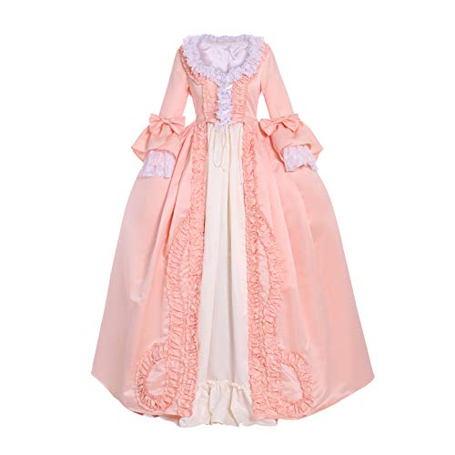 CosplayDiy Women's Rococo Ball Gown Gothic Victorian Dress Costume (M, Salmon Pink) -