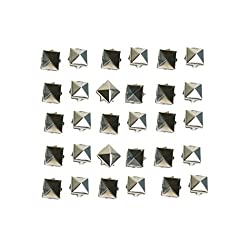 Haobase 100 PCS 10mm Leathercraft DIY Silver Metal Punk Spikes Spots Pyramid Studs Goth