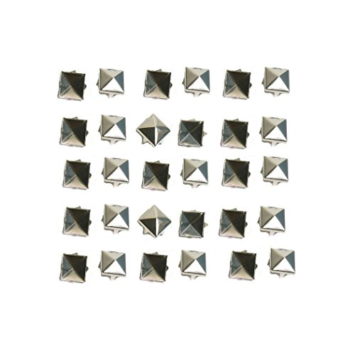 Goth Punk Spikes - Haobase 100 PCS 10mm Leathercraft DIY Silver Metal Punk Spikes Spots Pyramid Studs Goth