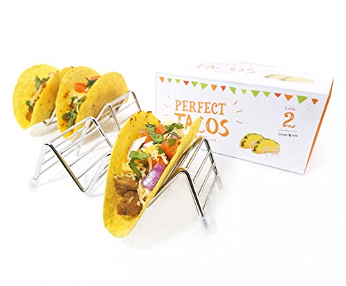 Taco Holder / Stand / Serving Tray (SET OF 4) by Perfect Tacos Night.  Premium Stainless Steel Rack Holds 2 Soft and Hard Shell Tacos