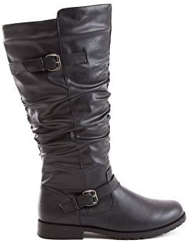 Soho Shoes Women's Leatherette Knee High Wrinkled Riding Boots