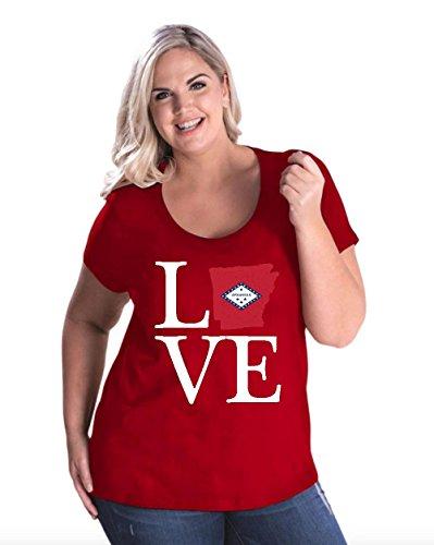 NIB Love Arkansas State Flag Traveler`s Gift Womens Curvy Plus Size Scoopneck Tee (26/28R) (State Arkansas Golf University)