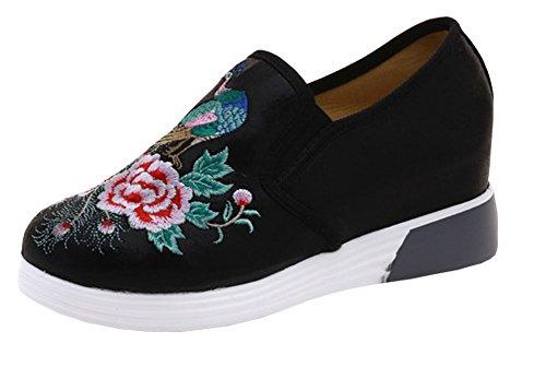 Avacostume Borduurwerk Verhoging Hiel Mode Sneaker Schoenen Zwart