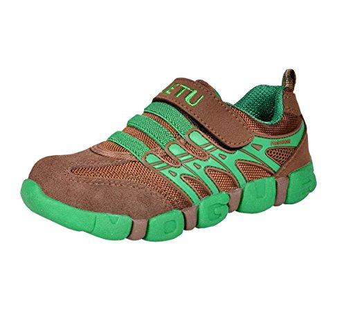 Ahatech Jungen Mädchen Kinder Sneaker rutschfest Klettverschluss Sportschuhe Grün