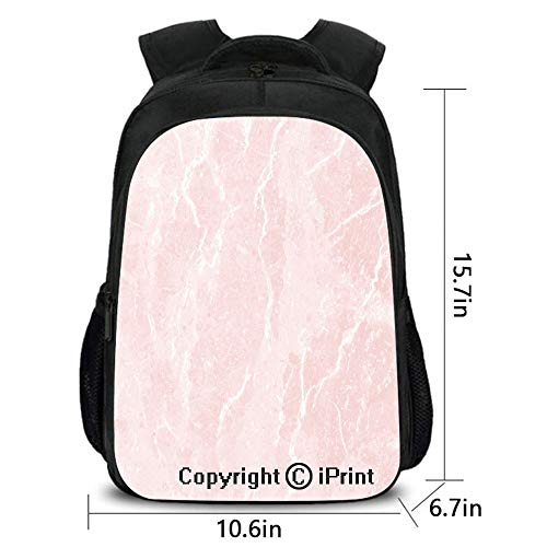 (Personality Kids School backpack,Murky Gemstone Scratches Nature Mineral Crystal Style Beauty Elegance Print Decorative,School bag :Suitable for men and women,school,travel,daily use,etc.Light Pink Wh)