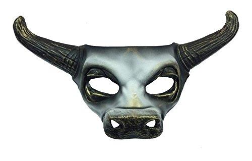 Grey Bull Skull Half Mask Adult Horns Cow Spirit Animal Halloween Masquerade]()