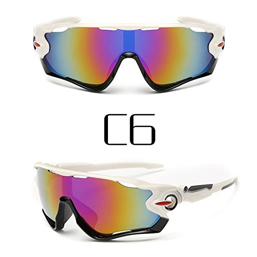 Polarized cycling sunglasse - Sports cycling glasses - Reflective Sports Men Sunglasses Road Cycling Glasses Bike Goggles Outdoor Sports Bicycle Sunglasses UV400 #85635 (White - Sunglasses Jawbreaker