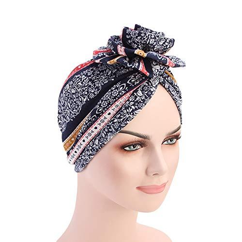 3d8d06494eb DuoZan New Women s Cotton Flower Elastic Turban Beanie Head Wrap Chemo Cap  Hair Loss Hat (Navy)