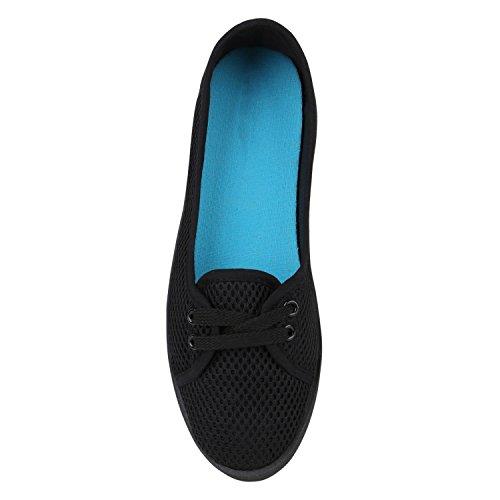 Sportliche Sneakers Damen Ballerinas Denim Stoffschuhe Schnürer Schuhe Halbschuhe Muster Lochung Flats Camouflage Spitze Flandell Schwarz Lochung